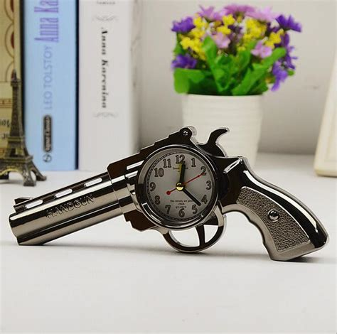 home decoration gifts new 2016 novelty pistol gun shape alarm clock desk table