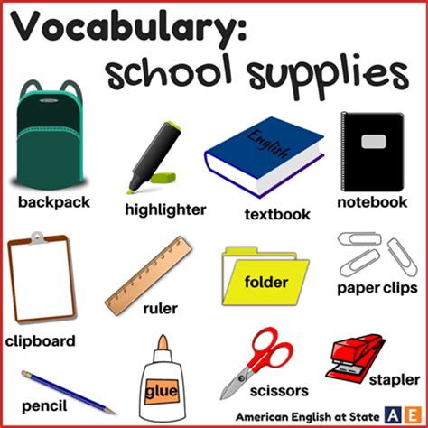 card supplies list vocabulary study and school supplies words