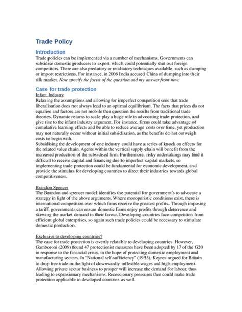 International Essay by International Trade Notes Oxbridge Notes The United Kingdom