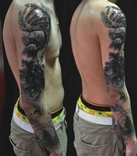 space tattoo black and grey space tattoo sleeve designs ideas and meaning tattoos