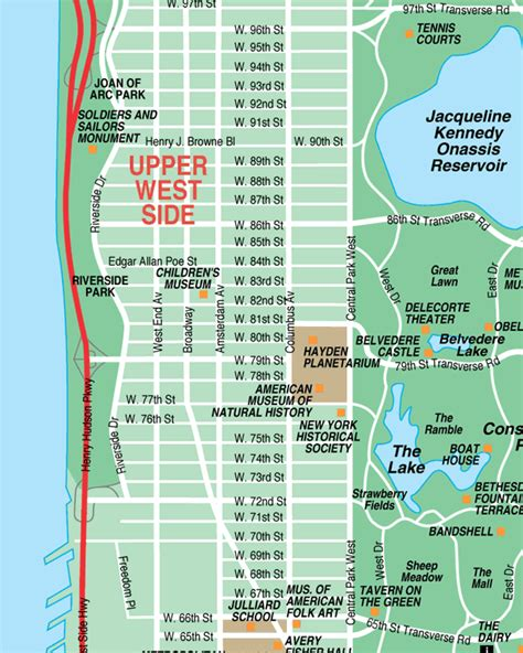 map manhattan streets west side new york city streets map