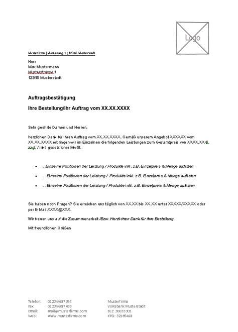 Angebot Vortext Muster Lexoffice Kostenlose Vorlagen Muster F 252 R Ihre Auftragsbest 228 Tigung