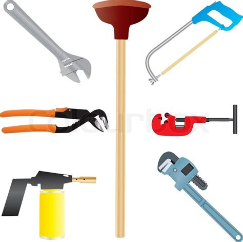 Tools For Plumbing Work by Plumbers Tools Stock Vector Colourbox