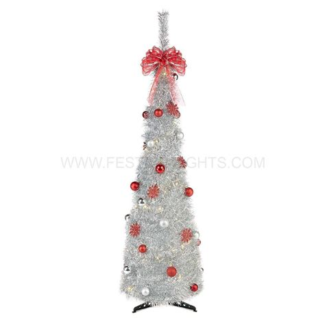 pre lit tree with decorations 18m silver pre lit pop up tree with decorations