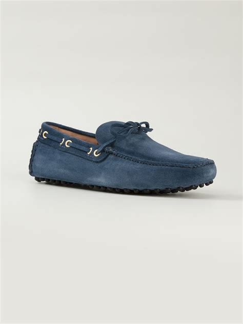 car shoe loafers car shoe square toe driving loafers in blue for lyst