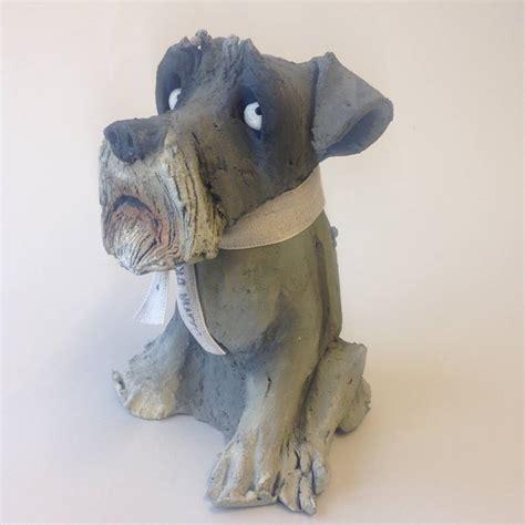 Handmade Clay Sculptures - handmade schnauzer ceramic sculpture by brown by