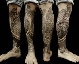 Calf leg dotwork geometric tattoo by vienna electric tattoo
