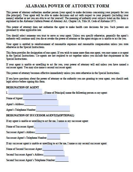 Free Durable Power Of Attorney Alabama Form Pdf Word Alabama Durable Power Of Attorney Template