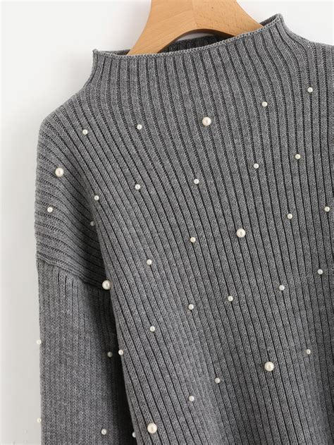how to knit and pearl pearl beaded rib knit jumper shein sheinside