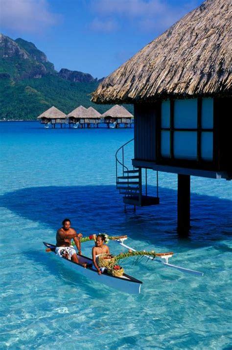 hawaii bungalows honeymoon tahiti bora bora overwater exterior from hill barrett
