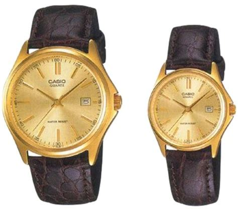 Casio Mtp 1183q 9a For casio his hers gold leather band mtp ltp 1183q 9a price review and buy in