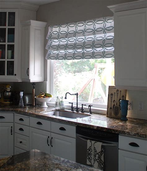 kitchen blinds and curtains stenciled faux shades tutorial kitchen sneak peek my