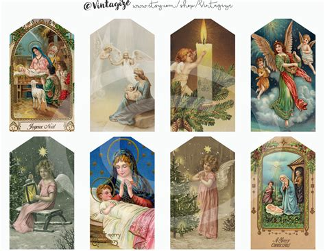 printable christmas tags christian christian christmas printable nativity tags vintage angel