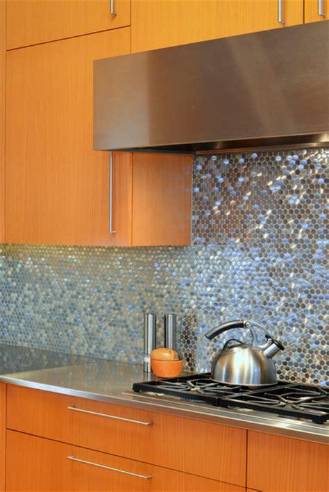 Stainless Steel Sparkles on Backsplash   Contemporary