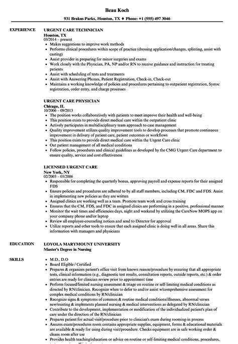 Urgent Care Practitioner Sle Resume Urgent Care Resume Sles Velvet