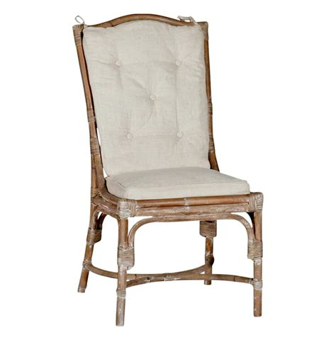 Curved Back Dining Chair Leslie Coastal Curved Back Linen Rattan Dining Chair Set Of 2 Kathy Kuo Home