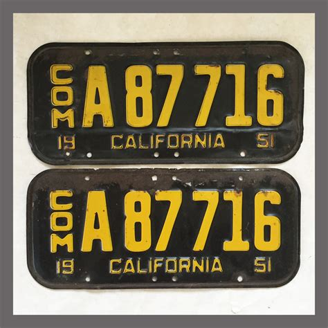 Vanity Plates For Sale by 1951 California Yom License Plates For Sale Original