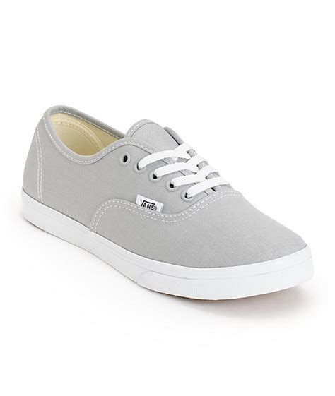 Vans Authentic Grey White vans authentic lo pro high rise grey true white shoes at zumiez pdp