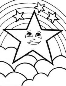a cute start and the rainbow coloring page download