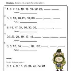 patterns worksheet 1