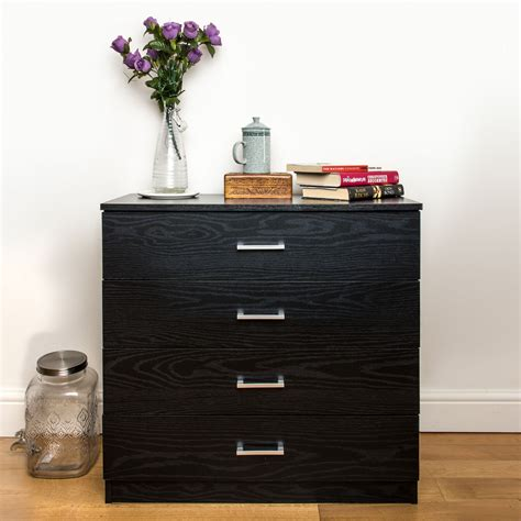 Black Chest Of Drawers Uk by Wooden Chest Of 4 Drawers Black Home Treats Uk
