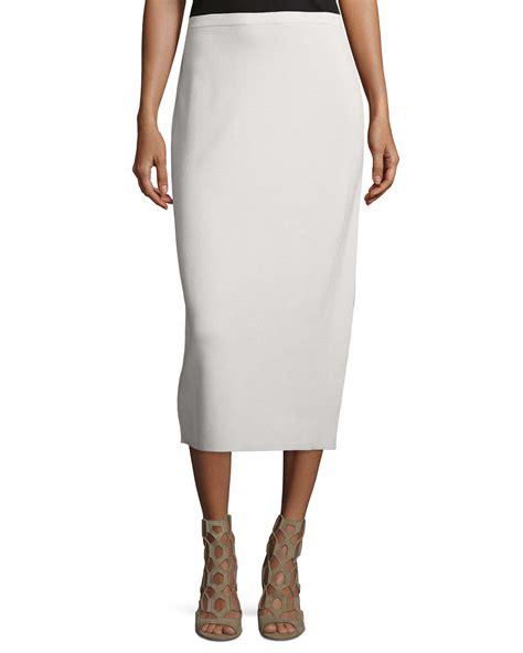 eileen fisher washable silk cotton midi pencil skirt in