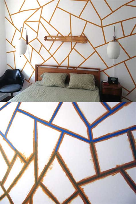 pattern tape wall art 25 cool no money decorating projects that will beautify