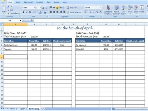 monthly bill planner excel excel bill tracker monthly payment