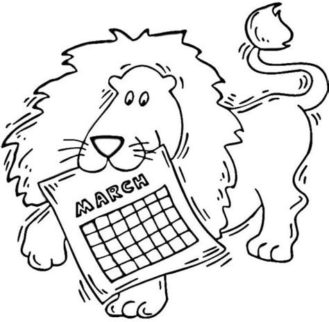 lion holding a calendar march coloring page