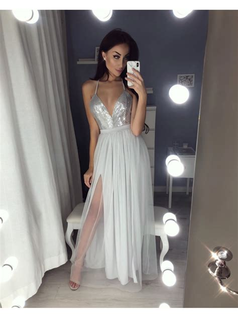 Bridesmaid Dress Fitting Near Me - v neck sequins prom dresses slit evening gowns