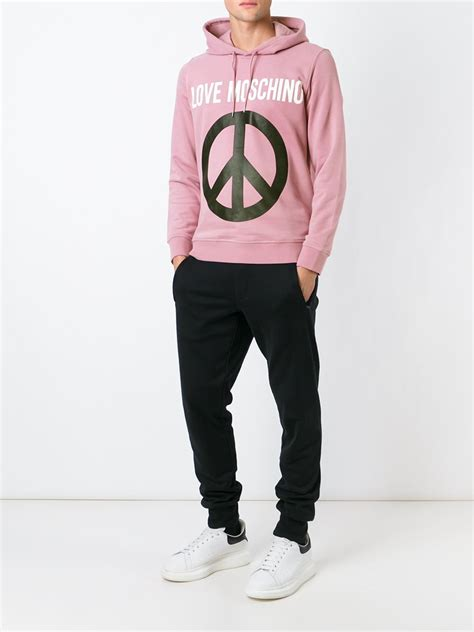 Secondsign Sweater Pink moschino peace sign print hoodie in pink for lyst
