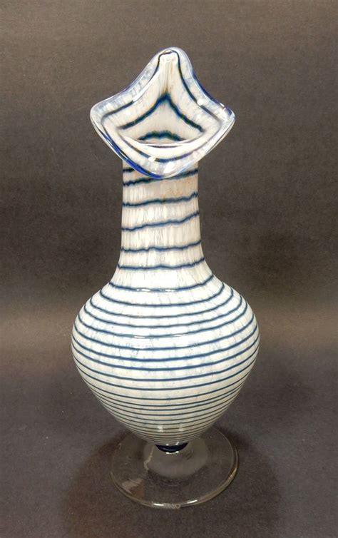 glass vase in pulpit blue white horizontal