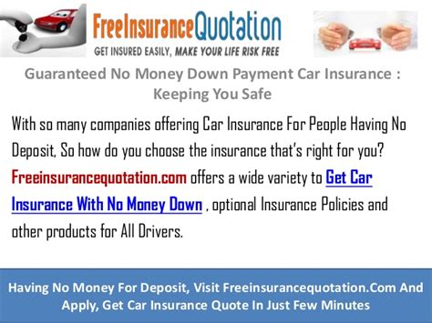 Guaranteed No Money Down Payment Car Insurance : Keeping
