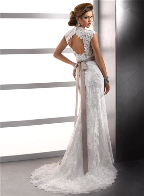 cap sleeves vintage wedding dresses with open
