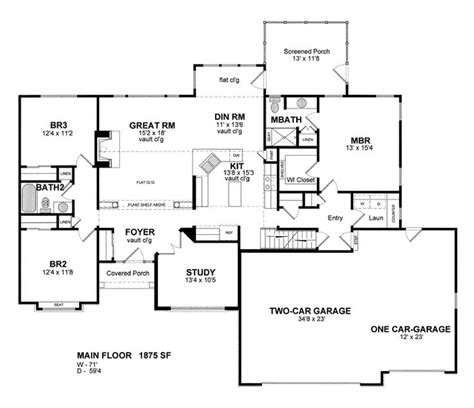 Garage Floor Plans With Bonus Room by House Plan 94183 Cottage Ranch Traditional Plan With