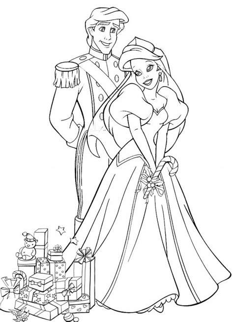 Coloriage Princesse Ariel et Eric En Ligne dessin gratuit