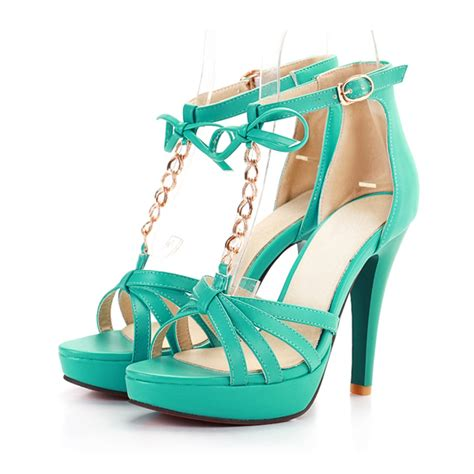gold metal chain and bow design high heel fashion sandals