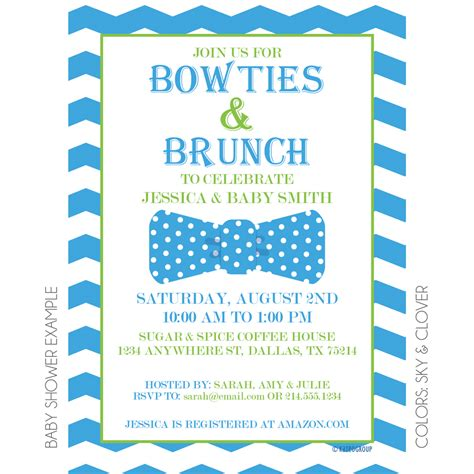 Baby Shower Brunch Invitation Wording by Bowties And Brunch Invitation Kateogroup