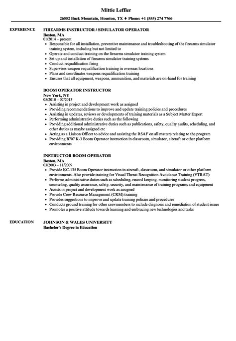 Instructor Resume by Operator Instructor Resume Sles Velvet