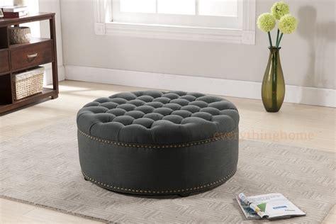 gray round ottoman modern beige or dark gray linen round tufted ottoman foot