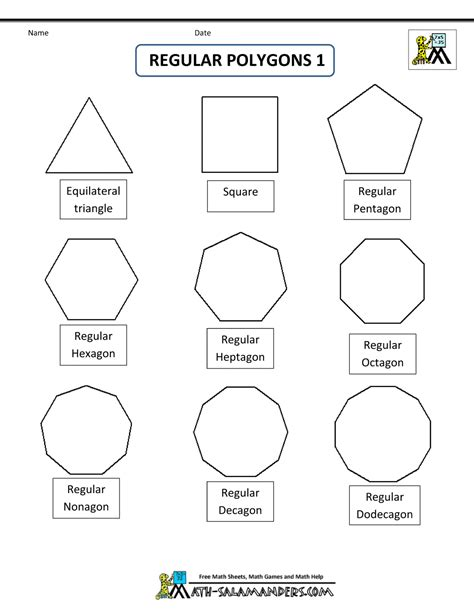 Polygon Shapes Worksheet regular shapes