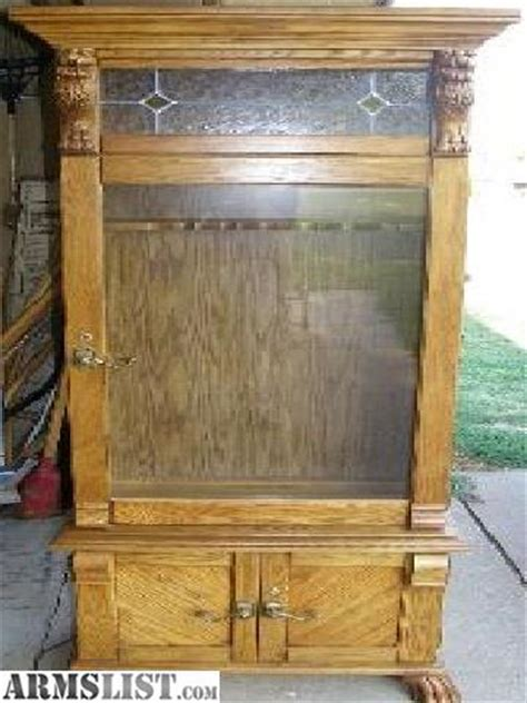 Solid Oak Gun Cabinets For Sale by Armslist For Sale Trade Solid Oak Pulaski 6 Gun Cabinet