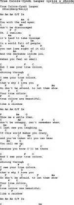 true colors song song lyrics for true colors cyndi lauper with chords