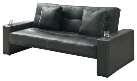 Black Leather Futon Bed Black Leather Like Fabric Arm Sofa Bed Futon Sleeper With Two Accent Pillows Contemporary