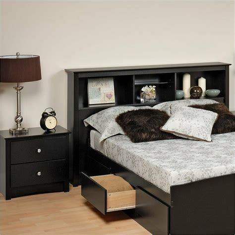 prepac sonoma black full queen wood bookcase headboard