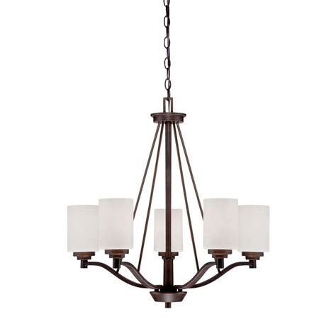 5 Light Chandeliers Millennium Lighting 5 Light Rubbed Bronze Chandelier With Etched White Glass 3155 Rbz The Home