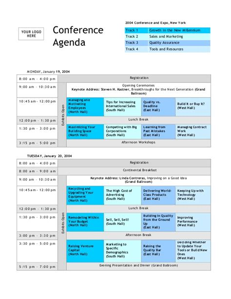 conference program templates conference agenda template
