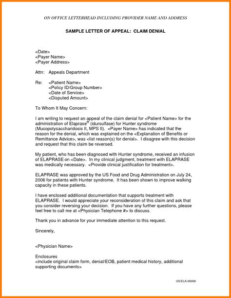 Appeal Letter Sle To Government inspirational insurance appeal letter sle cover