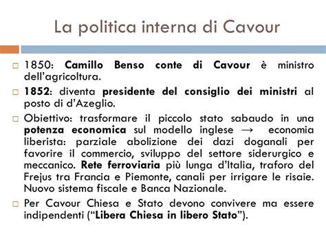 politica interna di cavour l unificazione italiana ppt scaricare