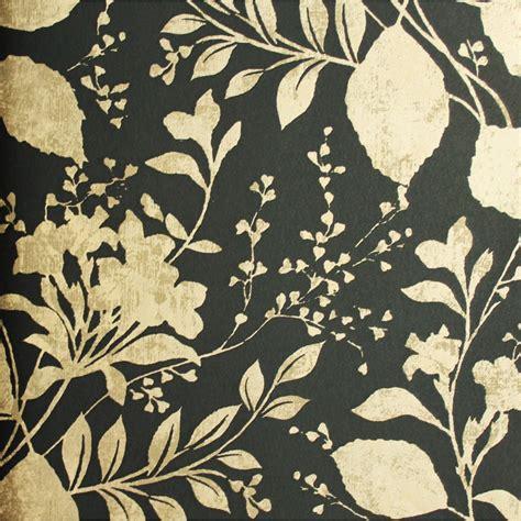 carta da parati fiori carta da parati con fiori e foglie oro su sfondo nero